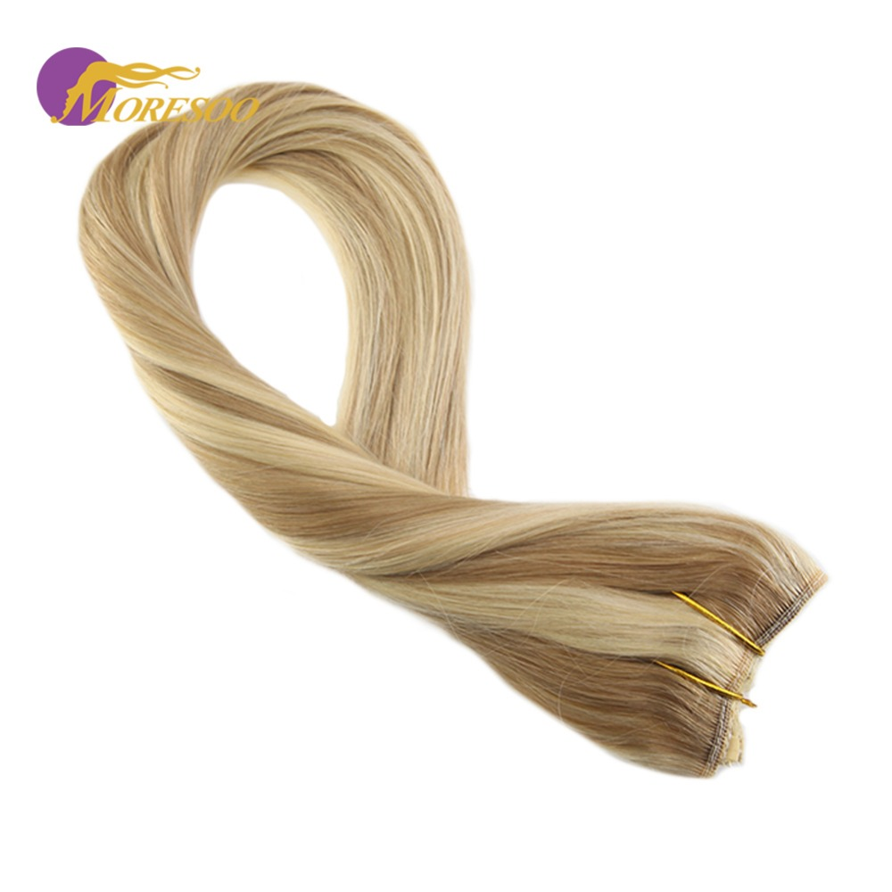 Moresoo Colorful Flip On Hair Extensions  Halo Human Hair Blonde Color #14 Highlighted With #613 Wire Hair Extensions 50-100G