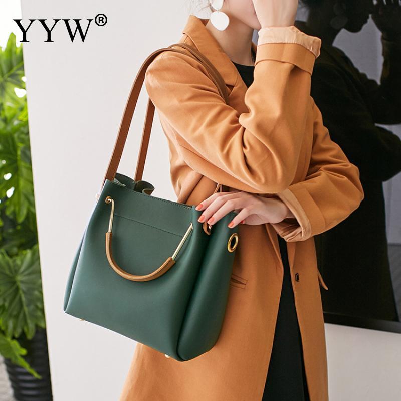 Solid Soft PU Leather Female Shoulder Bag Women'S Bucket Handbags Light Grey Tote Bags For Women 2018 Designer Top-handle Bag 5