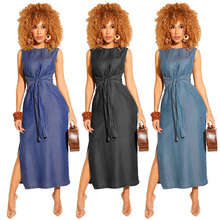 Casual sleeveless round neck high slit tie belt waist long skirt pencil skirt denim skirt solid color dress free shipping