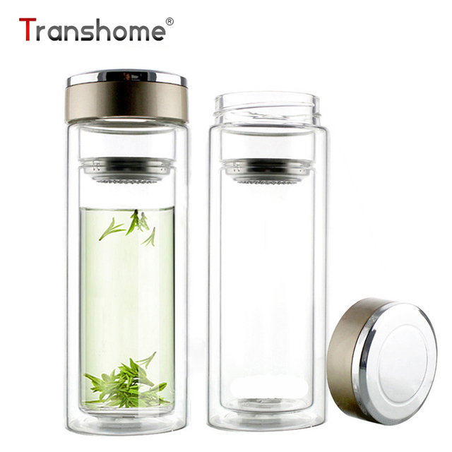 transhome glas wasserflasche 300 ml doppelwandigen glas. Black Bedroom Furniture Sets. Home Design Ideas