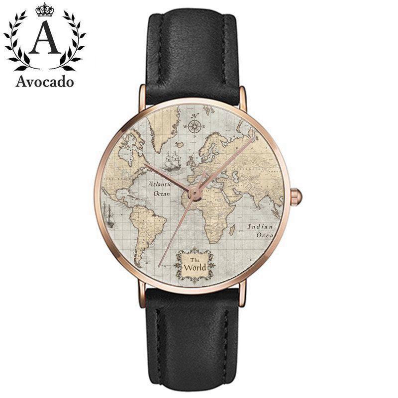 AVOCADO Travel Relogio Masculino Relogio Feminino Dropshipping Gift Men Women Watches World Map Design Analog Quartz Watch