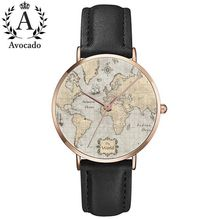 AVOCADO Travel Relogio Masculino Relogio Feminino Dropshipping Gift Men Women Watches World Map Design Analog Quartz Watch