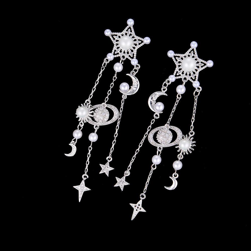 80 мм Для женщин звезды пирсинг планета Луна жемчуг CZ кисточкой Длинные Висячие серьги для Для женщин и девочек