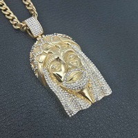HIP Hop Gold Color big JESUS Head Face Pendants Necklaces with zircon Stainless Steel Chain Collier for Men Christian Jewelry