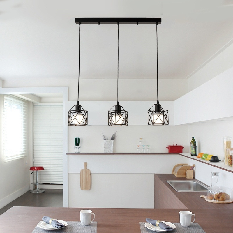 American rustic industrial kitchen island lamp cafe hanging <font><b>light</b></font> modern lighting fixtures Minimalist image