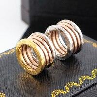 Logo thương hiệu phiên bản mới đám cưới tình yêu nhẫn titanium thép 3 mix color couple vòng đối với phụ nữ người đàn ông engagement ring bulgaria đồ trang sức