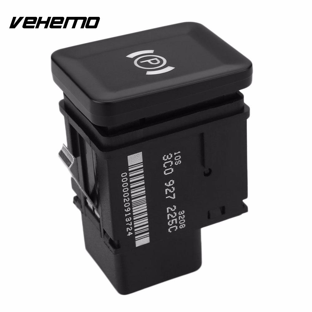 Vehemo Car Vehicle Plastic Hand Brake Switch Button Replacement Accessories for VW Passat B6 (06-09) Black diy rocker switch for car vehicle black red 11cm