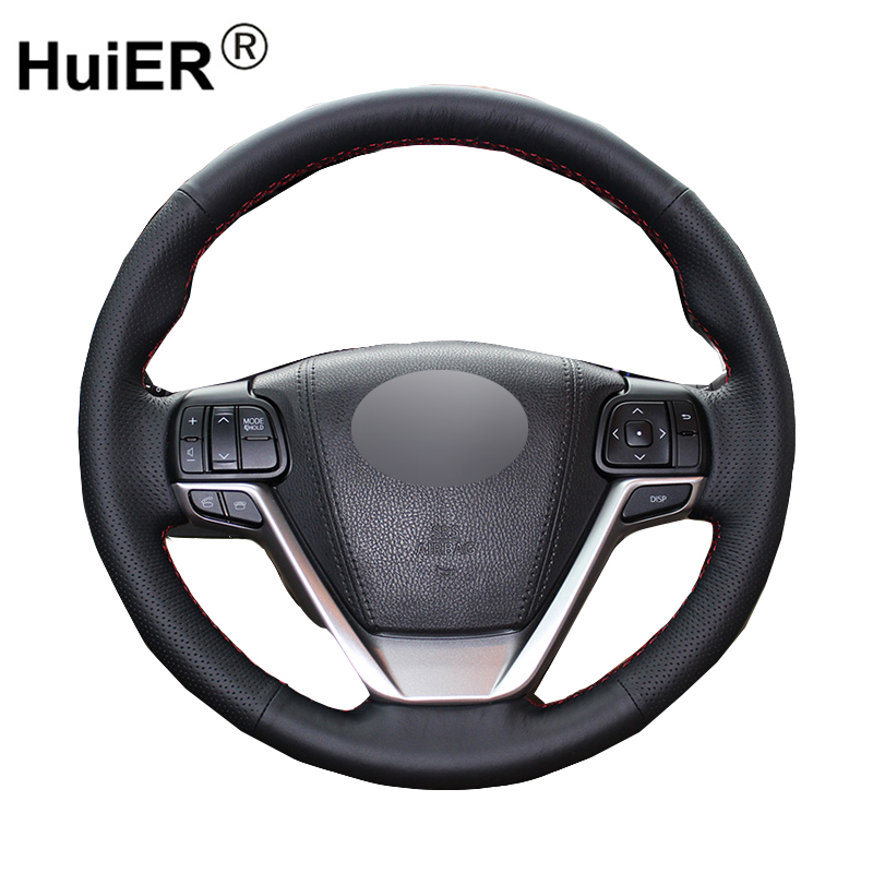 HuiER Hand Sewing Car Steering Wheel Cover Black Breathable Car Styling Leather For Toyota Highlander 2015 Steering Wheel