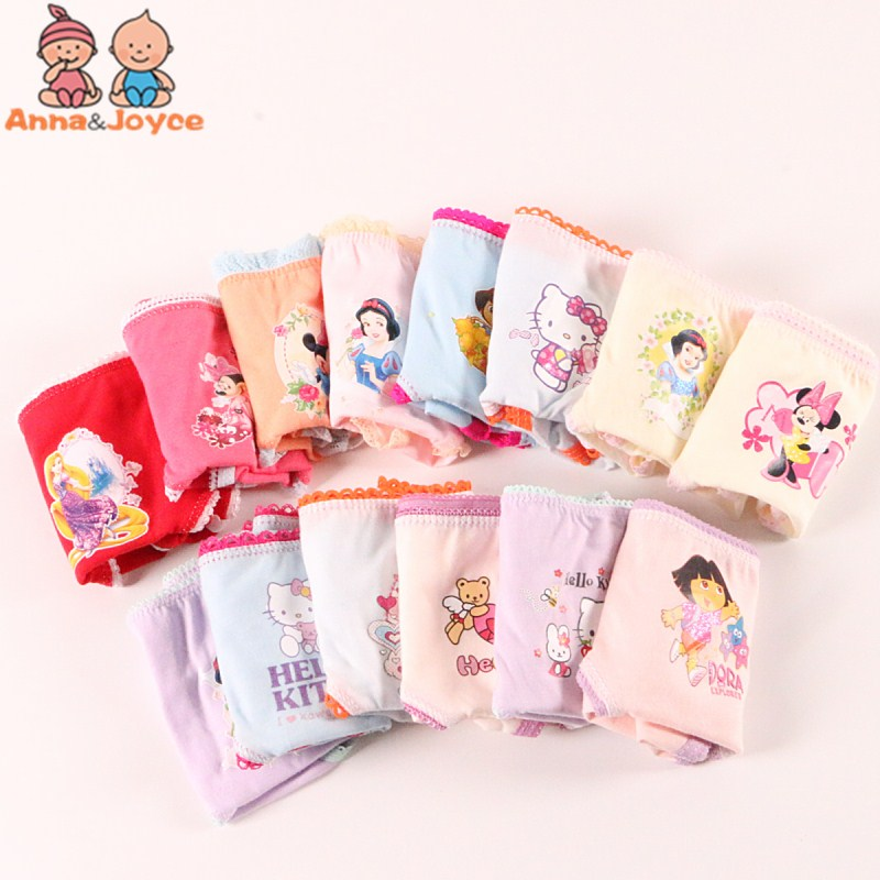 12pcs /lot baby Girls cartoon designs underwears children cotton short pants Kids   panties   atnn0002
