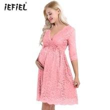 iefiel Women Maternity Dresses Elegant Floral Lace Pregnant Dress Vestidos Overlay Half Sleeves Knee Length Pregnant Dresses