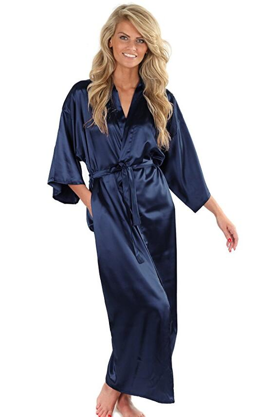 women silk satin long wedding bride bridesmaid robe kimono robe feminino bath robe large size. Black Bedroom Furniture Sets. Home Design Ideas