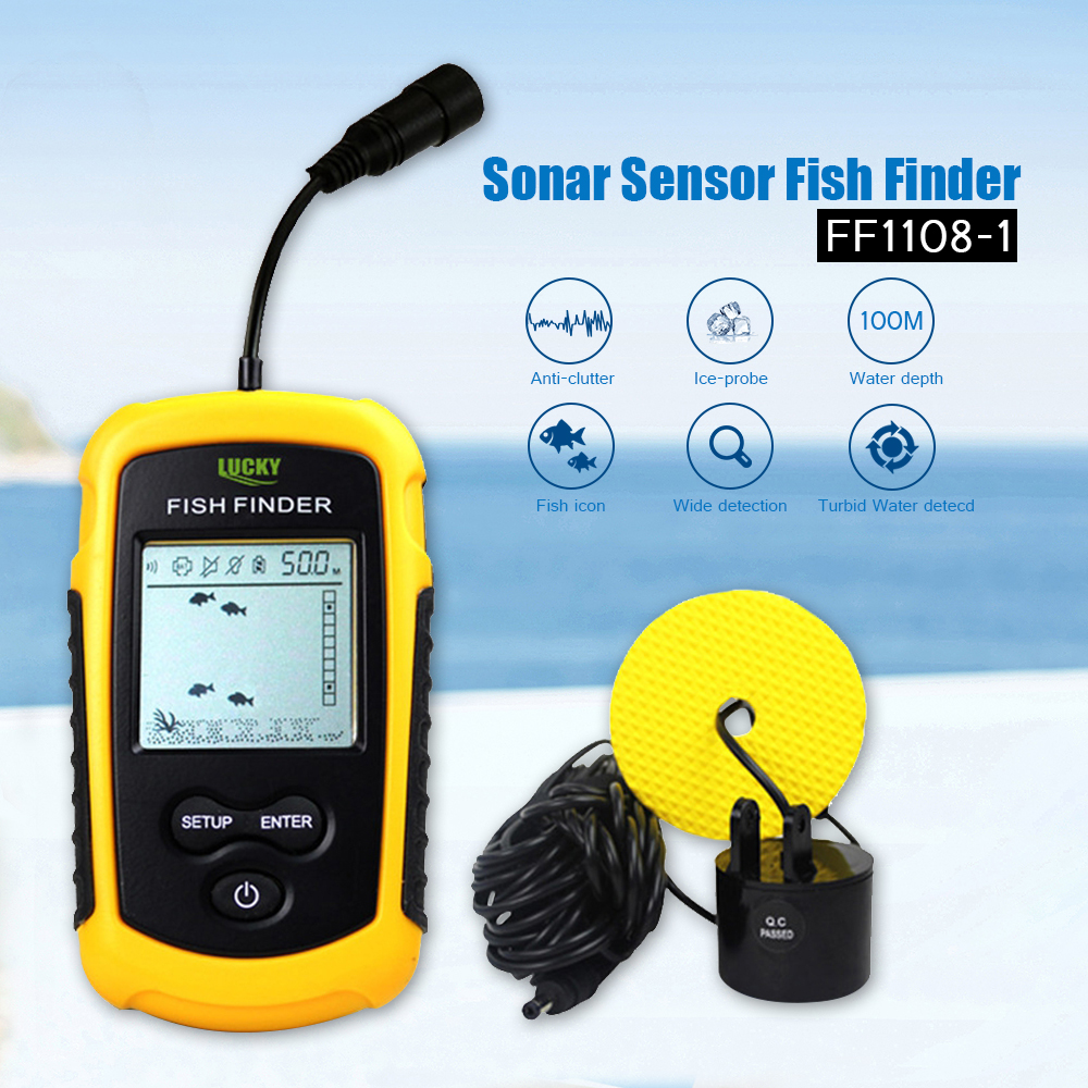 Lucky Sonar Fish Finder Alarm FF1108-1 100M Portable Sonar Sensor LCD Fishfinder Deeper Echo Sounder Transducer for Fishing Lure (6)