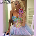 Robe De Cocktail Shiny Colorful Rhinestone Crystal Cocktail Dresses Beaded Short Ball Cocktail Party Dresses Vestido Branco
