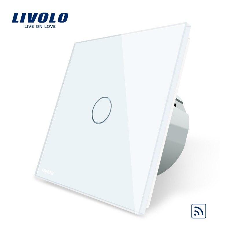 Interrupteur tactile à distance Livolo EU Standard, 1 gang 1way, panneau en verre, AC 220 ~ 250 V, VL-C701R-1/2/3/5, pas de télécommande