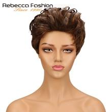 Rebecca короткий волнистый парик бразильские романтические переплетения Remy человеческие волосы парики для черных женщин микс коричневый красное вино 10 цветов