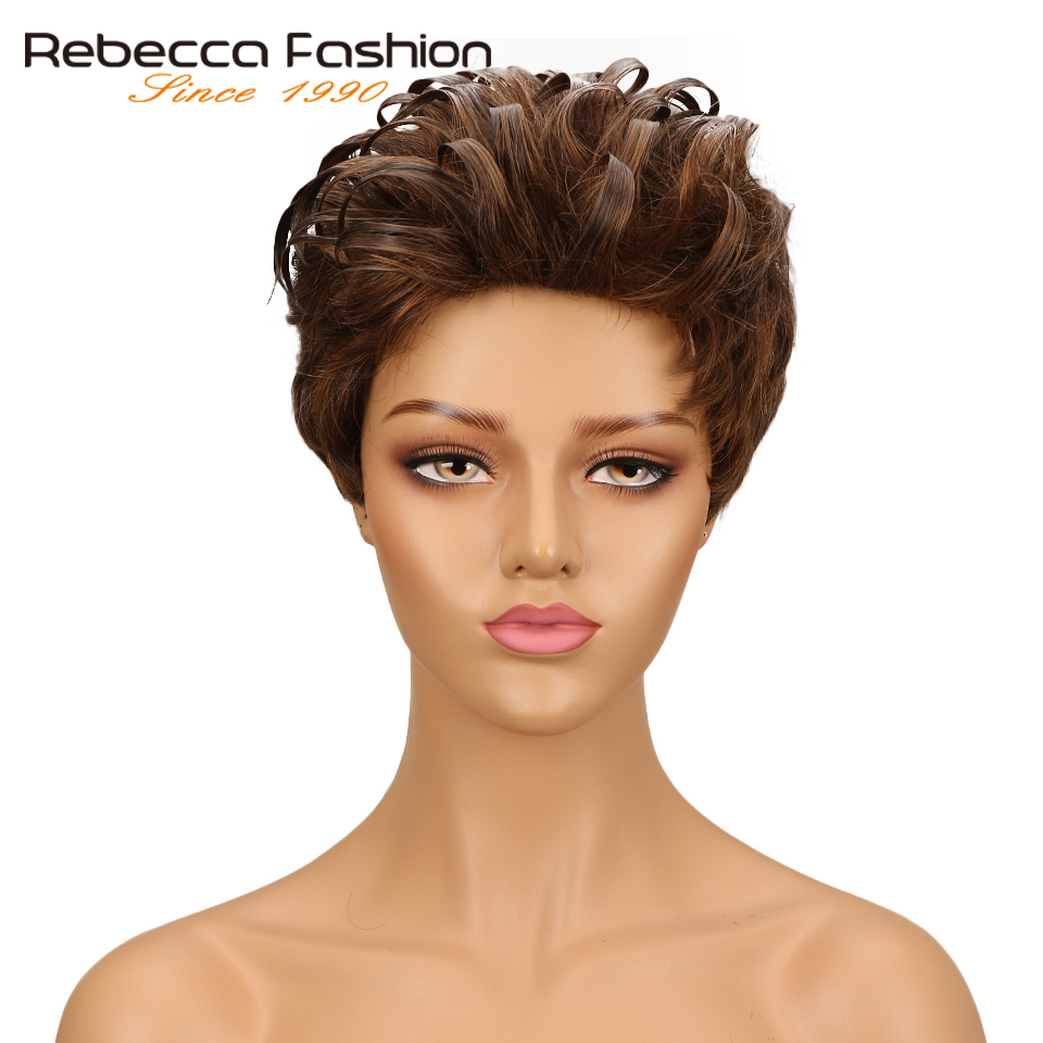 Rebecca Short Wavy Wig Brazilian Romance Weave Remy Human Hair Wigs For Black Women Mix Brown Red Wine 10 Colored Free Shipping