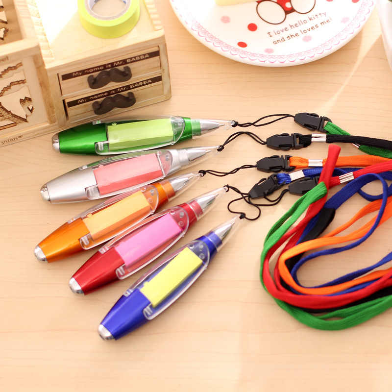 Multifunctional Promotional Ballpoint Pens Sticky Notes LED Light Pen New Cute Stationery Lanyard Notes Light Pen