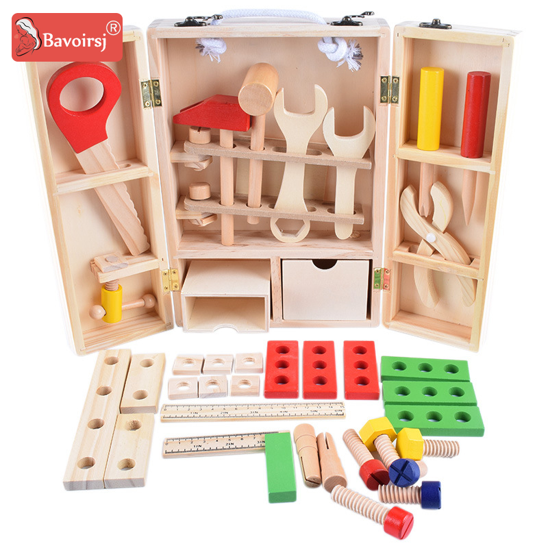 купить Wooden Box Tools Environmental Painting Pieces Baby Montessori Toys For Children Education Waldorf Toy T0249 по цене 1561.9 рублей