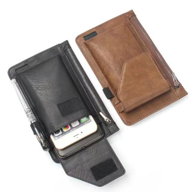 Hook Loop Man Belt Clip Zipper Card Pouch Dual Mobile Phone Leather Case For Asus Zenfone 2 Deluxe ZE551ML/2 Laser ZE550KL
