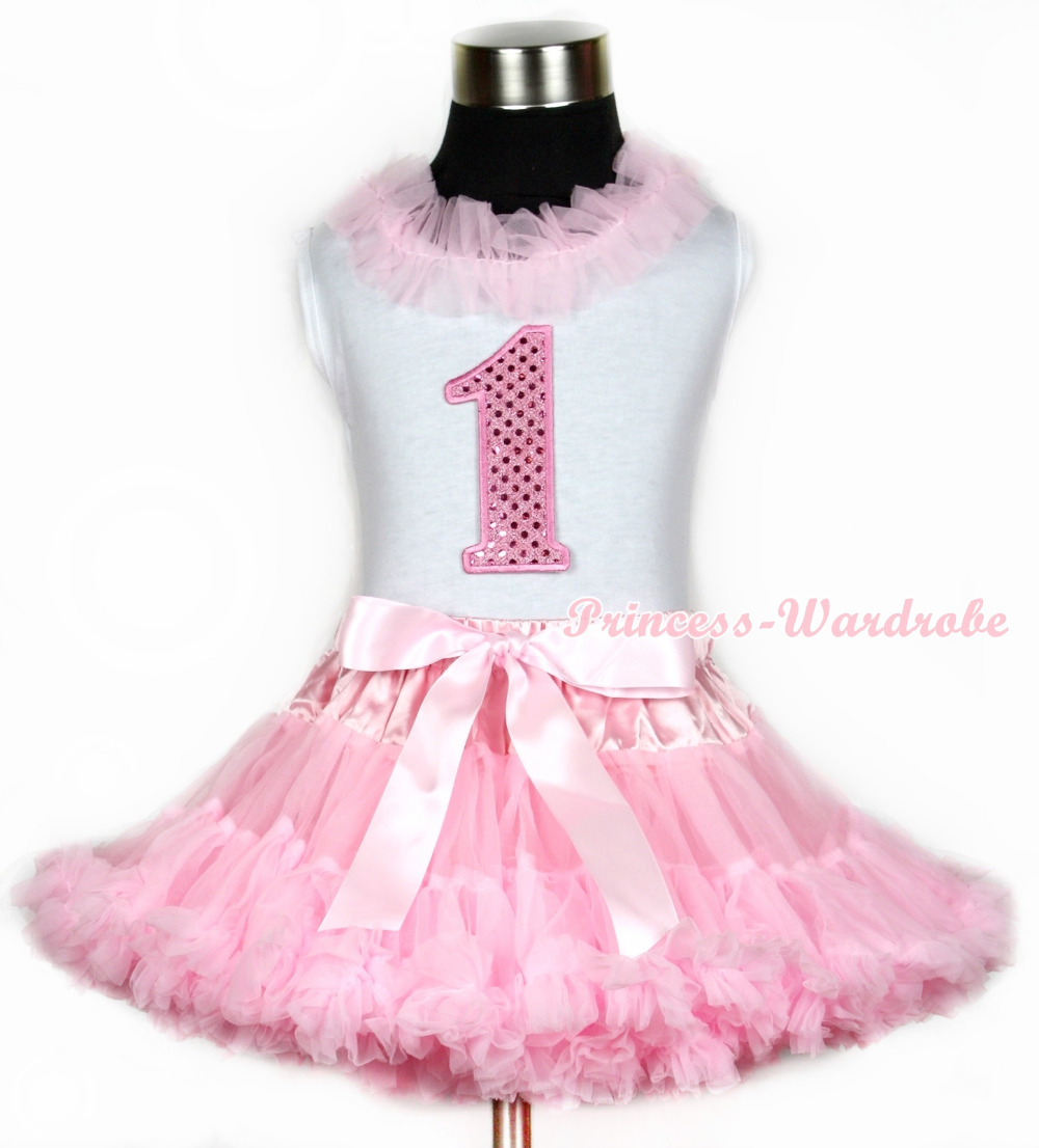 Halloween White Tank Top With Light Pink Chiffon Lacing & 1st Sparkle Pink Birthday Number Print With Pink Pettiskirt MAMG667 light pink tank top pink leopard lacing 3rd sparkle light pink birthday no leopard waist light pink white pettiskirt mam320