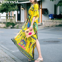 Bohemian Beach Dress Kaftan Ethnic Cotton Rayon Maxi Dress Women Vintage V Neck Tunic Boho Casual