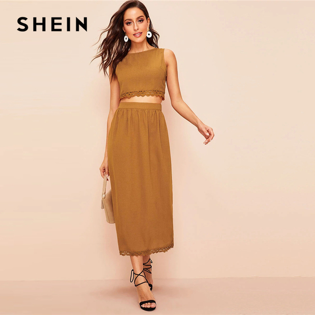 28cfffcd9cbd SHEIN Elegant Brown Buttoned Back Lace Trim Crop Top and Long Skirt Set  Women Spring Summer 2019 Sleeveless Fitted Two Piece Set