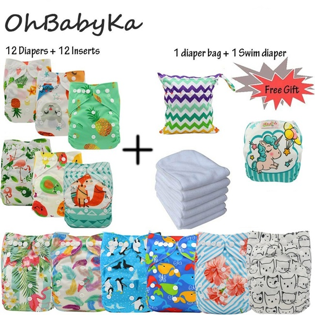 Reusable Nappies Baby Pocket Cloth Diapers Washable Ohbabyka Diaper Cover 12pcs 12pcs Microfiber Inserts 1Free Diaper