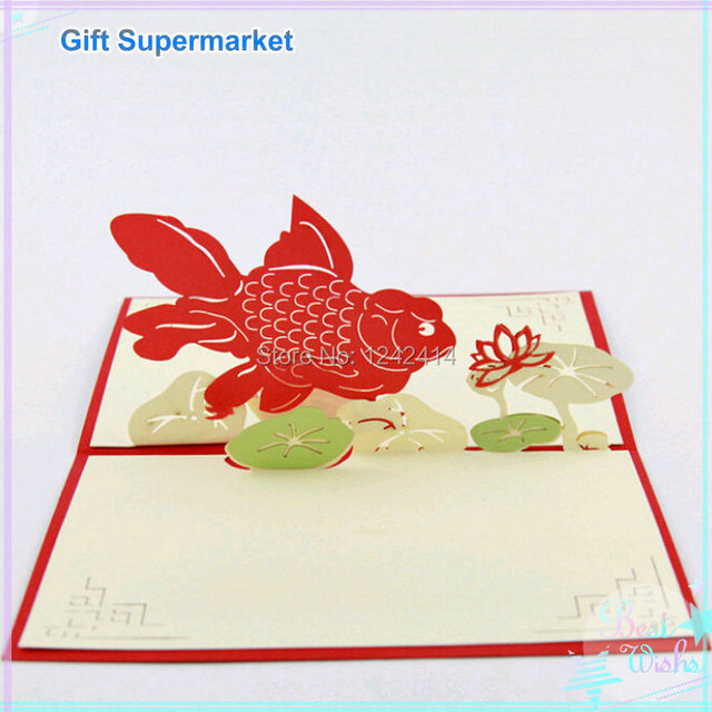 Greeting Cards With Envelope Fish Lotus Handmade Creative Thank