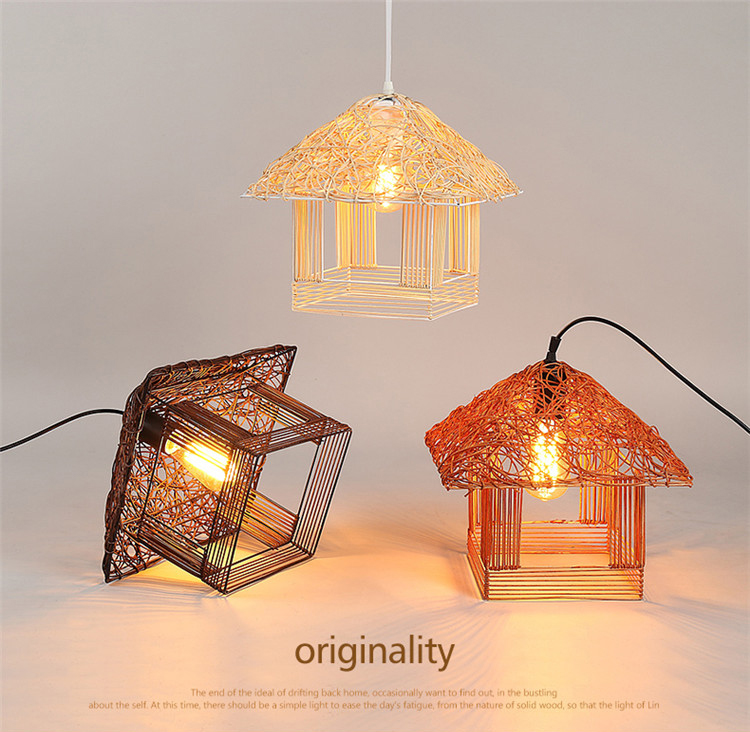 2018 NEW Rattan Pendant Light, Creative Art Southeast Asia Vintage Small House Pendant Lamp Brief Country Style Pendant lamps