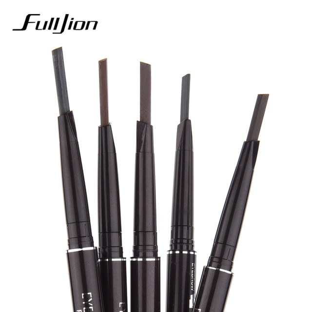 Fulljion Double-Ended Rotatable Eyebrow Pencil with Mascara Brush Waterproof Long Lasting Eyebrow Pen Eyebrow Stencil Makeup Set 5