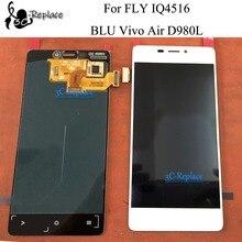 100% اختبار أسود/أبيض 4.8 بوصة ل يطير IQ4516/BLU فيفو الهواء D980L شاشة الكريستال السائل مجموعة المحولات الرقمية لشاشة تعمل بلمس مع الإطار