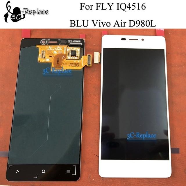 100% testé noir/blanc 4.8 pouces pour FLY IQ4516/BLU Vivo Air D980L LCD écran tactile numériseur assemblée avec cadre