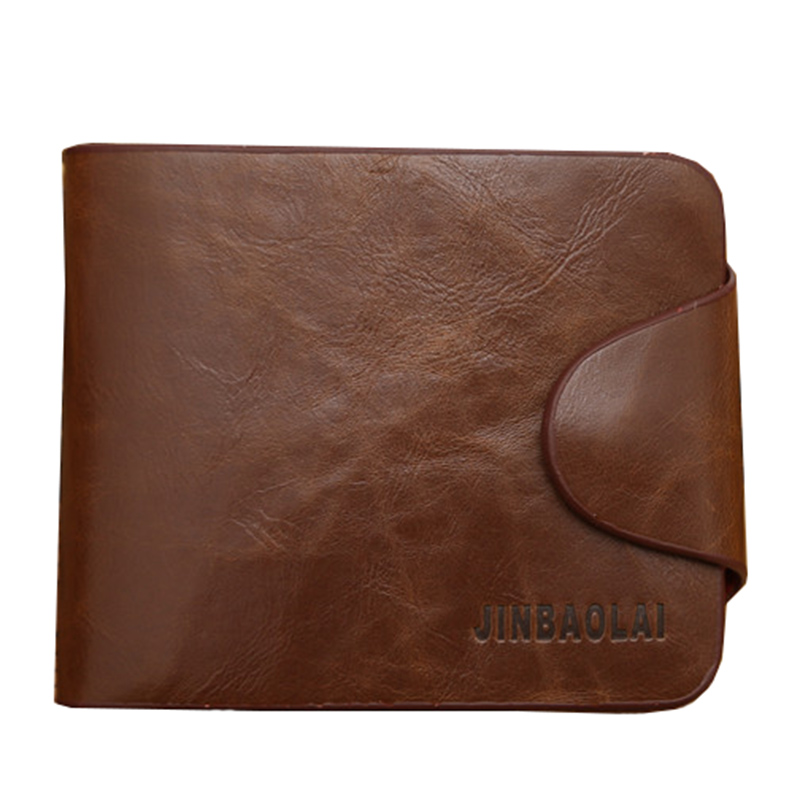 JINBAOLAI Crazy-horse Leather Men Wallet Cowhide Luxury Money Purse Small Card Holder Hasp Design--BID098 PM49 casual weaving design card holder handbag hasp wallet for women