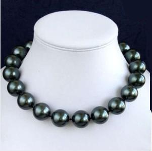 lady's women's jewelry Rare Huge Charming!12mm South Black Sea Shell Pearl Necklace AAA