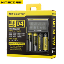 NITECORE original D4 Digicharger LCD Display Universal Charger Fit 18650 14500 16340 26650 18350 with Charging Cable(China)
