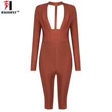 Club Factory 2017 Sexy Rompers Women Jumpsuit Bodysuits Autumn Long Sleeve Deep V Neck Skinny Bodycon Playsuit Jumpsuits