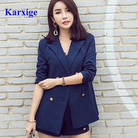 Karxige wholesale golden button pure color blue beauty women elegant women office lady slim female suit free shipping