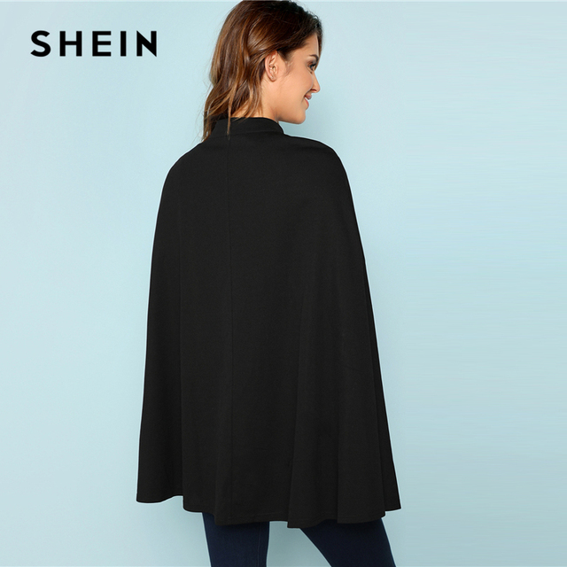 SHEIN Black Highstreet Office Lady Double Button Mock Poncho Solid Elegant Coat 2018 New Autumn Women Workwear Outerwear Clothes 2