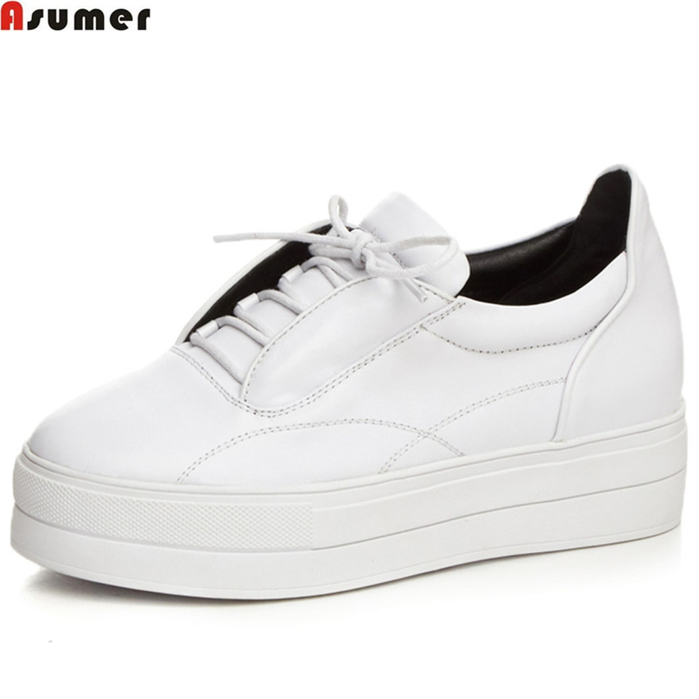 Asumer white black fashion casual single shoes round toe lace up platform spring autumn women genuine leather flats shoes foreada genuine leather shoes women flats round toe lace up oxfords shoes real leather casual boat shoes brown pink size 34 40