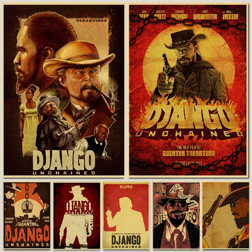 Classic movie Django Unchained Quentin Tarantino retro Poster Retro Kraft Paper Bar Cafe Home Decor Painting Wall Decals image