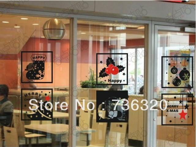 Coffee Shop Christmas Wall Stickers Merry Christmas X mas Design Shop Window Glass Sticker Room Home Decoration