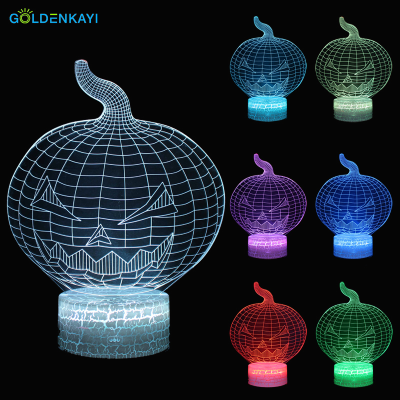 3D LED Lamp Originality Night Lights Atmosphere Visual Lamp Touch Pumpkin Bedside Seven Colors Light Gift For Halloween