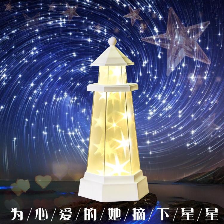 LumiParty Starry Sky Lighthouse Lamp LED Night Light Remote Control Star Light Charging LED Nightlight Valentine's Day Gifts free shipping remote control colorful modern minimalist led pyramid light of decoration led night lamp for christmas gifts