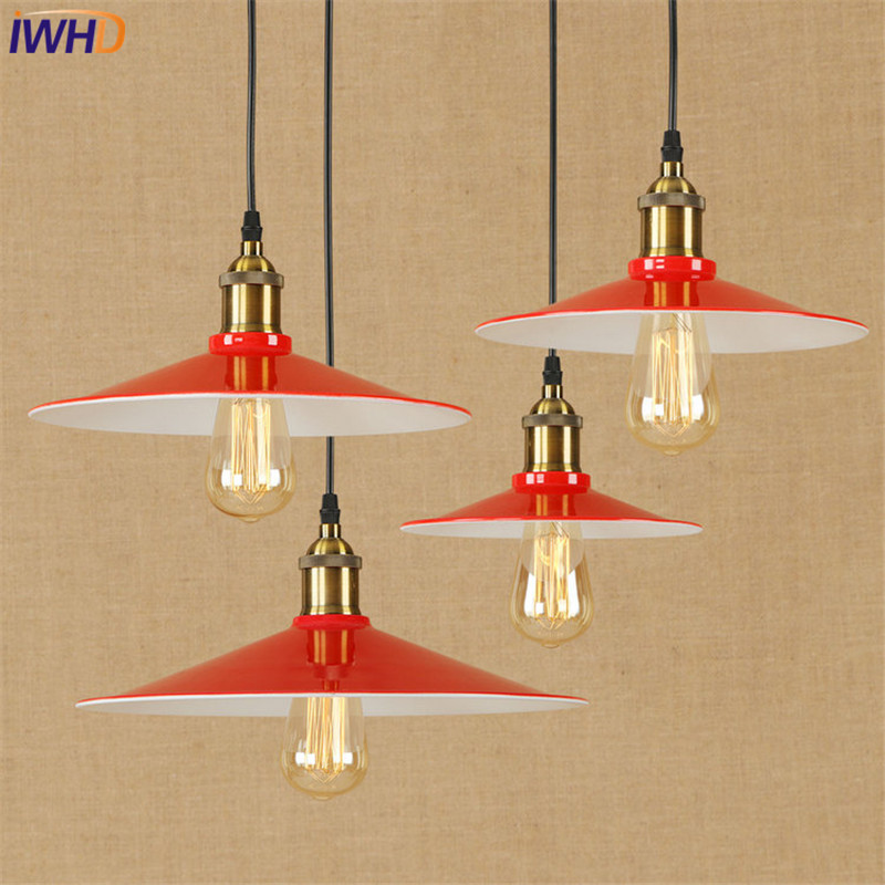 American Loft Style Iron Retro Droplight Edison Industrial Vintage LED Pendant Light Fixtures Dining Room Hanging Lamp Lighting iwhd american edison loft style antique pendant lamp industrial creative lid iron vintage hanging light fixtures home lighting