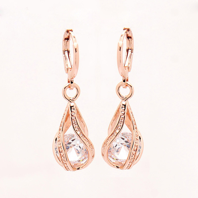 Elegant Pink CZ Crystal Earrings Rose Gold Color Hollow Out Drop Earrings for Women Wedding Party Costume Jewelry brincos Gift 3