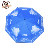 Голубое небо белое облако УФ-защитой перевернутый складной зонт Ветрозащитный авто открыть и закрыть зонтик