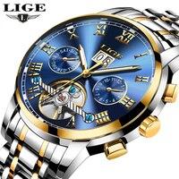 LIGE Mens Watches Top Brand Luxury Automatic Mechanical Watch Men Full Steel Business Waterproof Sport Watches