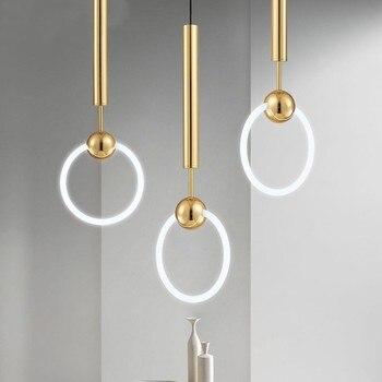 Post-nowoczesny Zwięzły Bar Kreatywny Okrągły Pierścień Szkło Złoty Wisiorek światło Restauracja Sypialnia Dekoracja Biurowa Lampa Darmowa Wysyłka