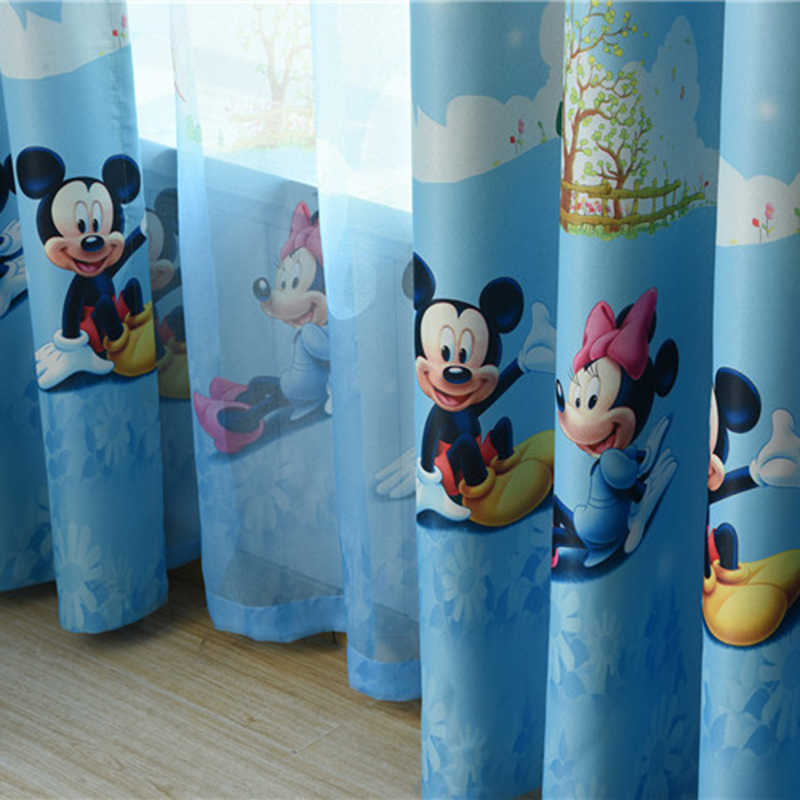 Blue Cartoon Children Curtains For Living Room Kids Blackout Customized Finished Sheer Curtains For Baby Girls Bedroom AG267&2