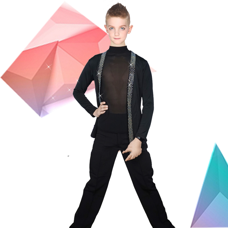 Latin Dance Shirts Boys Black Rhinestone Jacket Coat Vest Children Competition Performance Dancing Top Samba Costumes DNV10247-in Latin from Novelty & Special Use    2